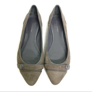 Banana Republic Leather Army Green Flat Shoes
